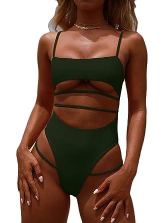 c0d3746eac3 MOPOOGOSS Bikini Bathing Suit for Women Sexy Tank Top Spaghetti Cutout  Straps Brazilian Style High Leg