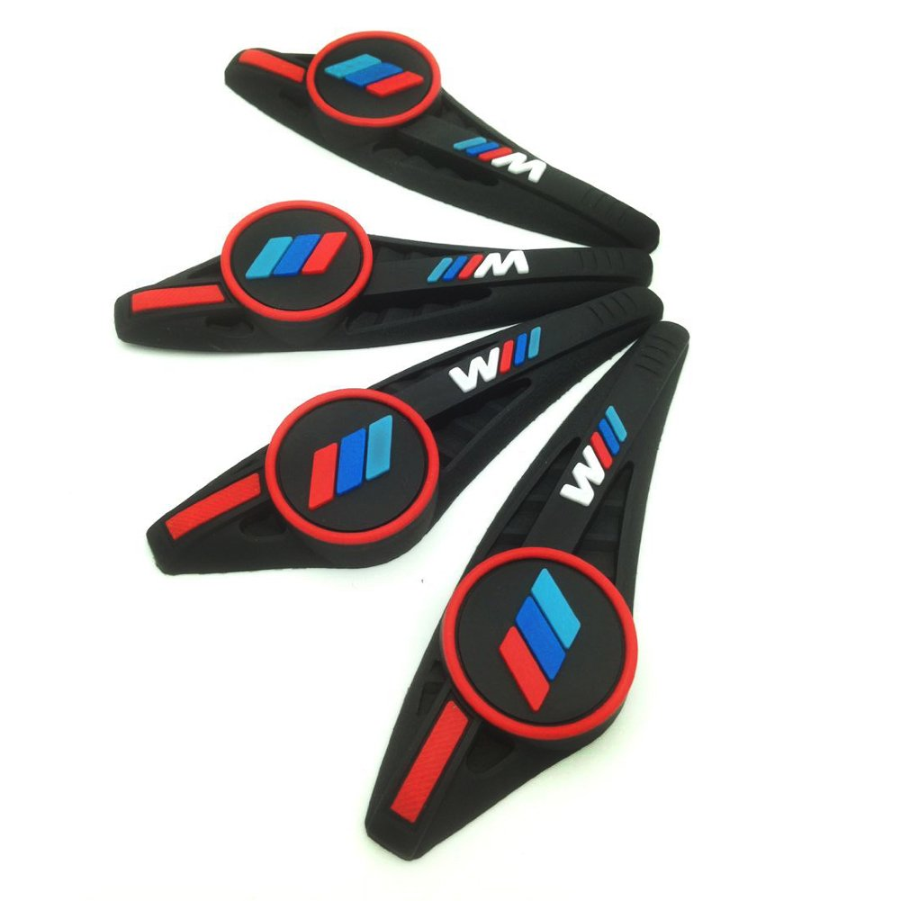 Black S-WEKA 4PCS M Line Car Door Protection Decorative Strip for BMW Thickness 1cm
