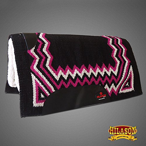 HILASON Made in USA Western Felt Saddle Blanket Pad Black Pink White