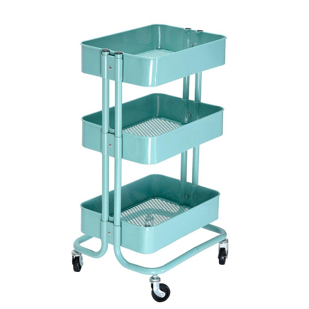 MissSnower 3 Tier Kitchen Serving Trolley Cart Metal Mesh Storage ...