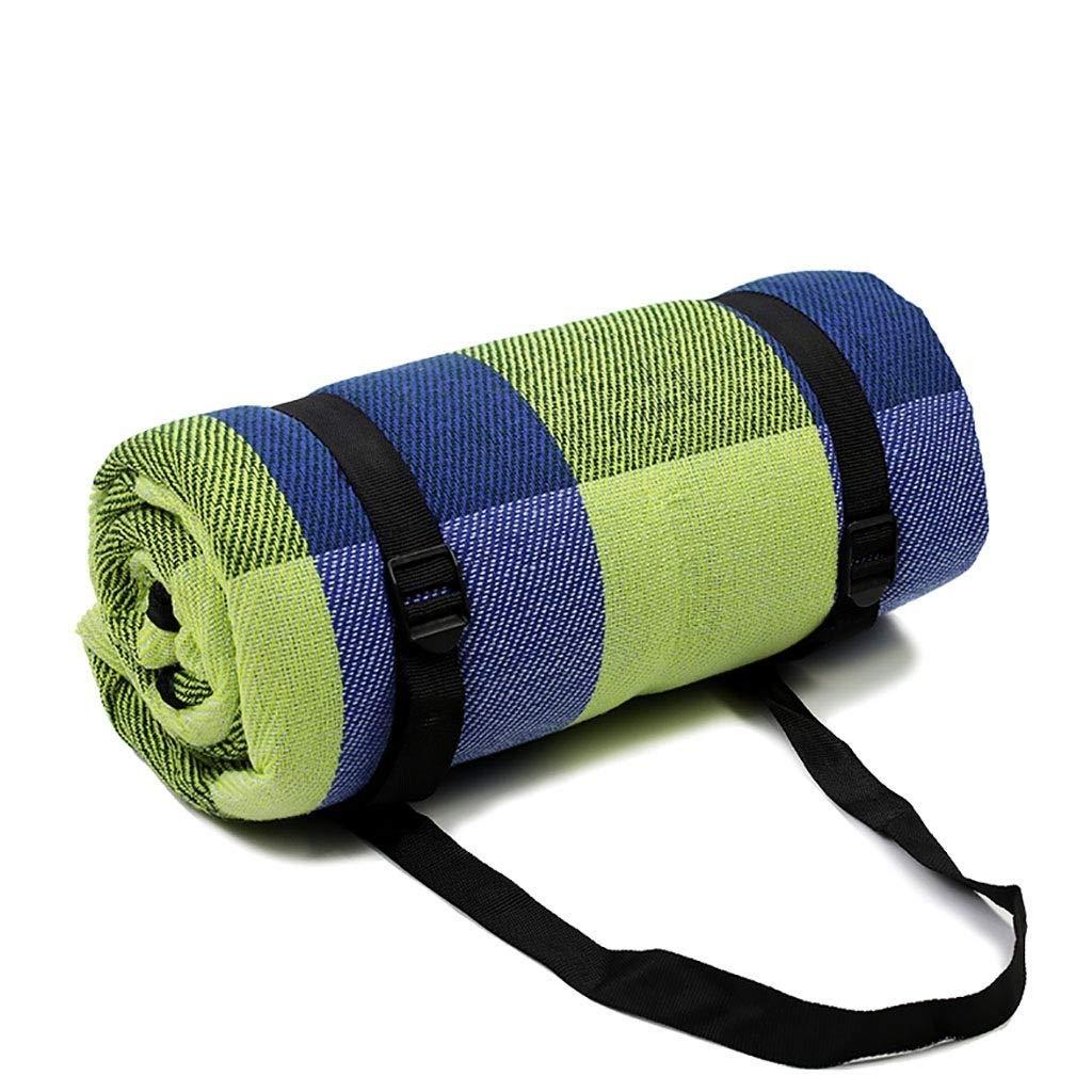 YDLX Large Picnic Blanket Mat 200 x 200 cm x 3mm Green Tartan Portable Folding Machine Washable Beach Rug by YDLX