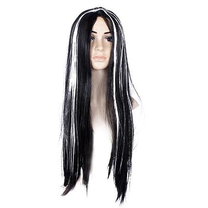 Las mujeres niñas recta larga peluca de fibra sintética negra con luz blanca peluca Ghost peluca