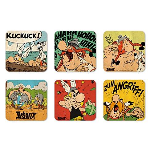 Ensemble de sous-verres Logoshirt Ast/érix le Gaulois Design original sous licence Asterix /& Obelix Comics Ensemble de 6 dessous de verre multicolore