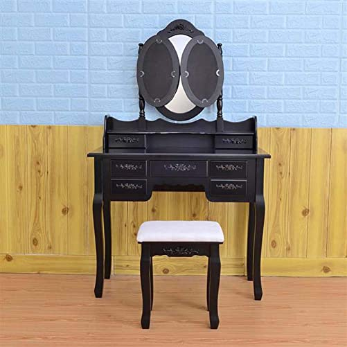 7 Drawers Make-Up Vanity Table Set Foldable 3 Mirror Dressing Table with Cushioned Stool Wood White Black