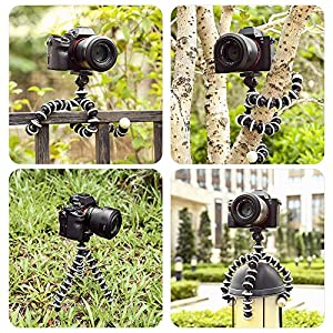 Flexible Lightweight Portable Tripod for Projector DSLR Cameras (Black&White)