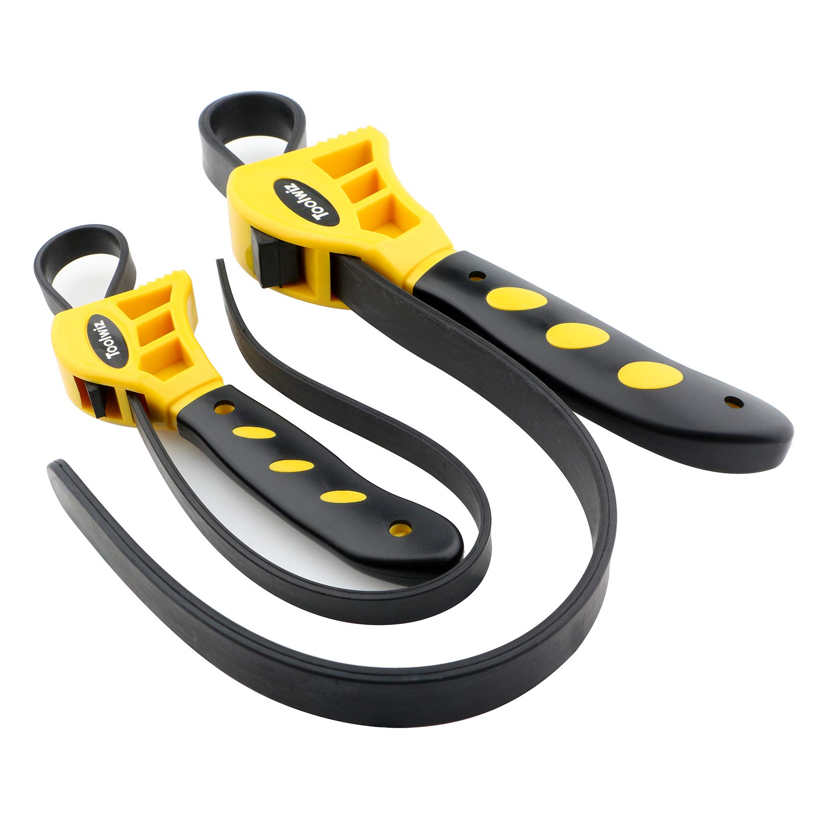 Toolwiz Rubber Strap Wrench - Set of 2pcs Jar Opener, Pipe Wrench, Oil Filter Wrenches Used by DIY, Mechanics, Plumbers, 19-11/16'' and 23-5/8'' (Black on Yellow) by Toolwiz