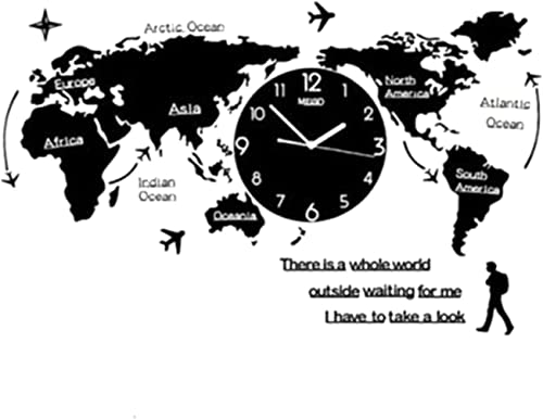 wastreake World Map Wall Clock