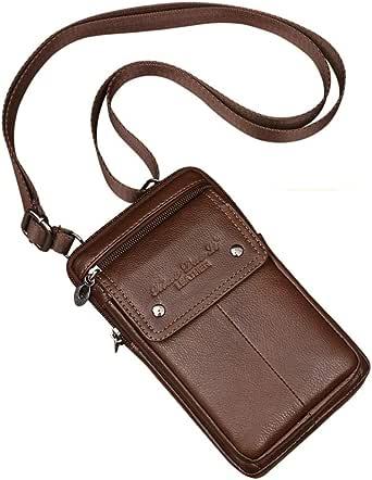 Small Genuine Leather Cross Body Messenger Bags Satchel Shoulder Bag for Men