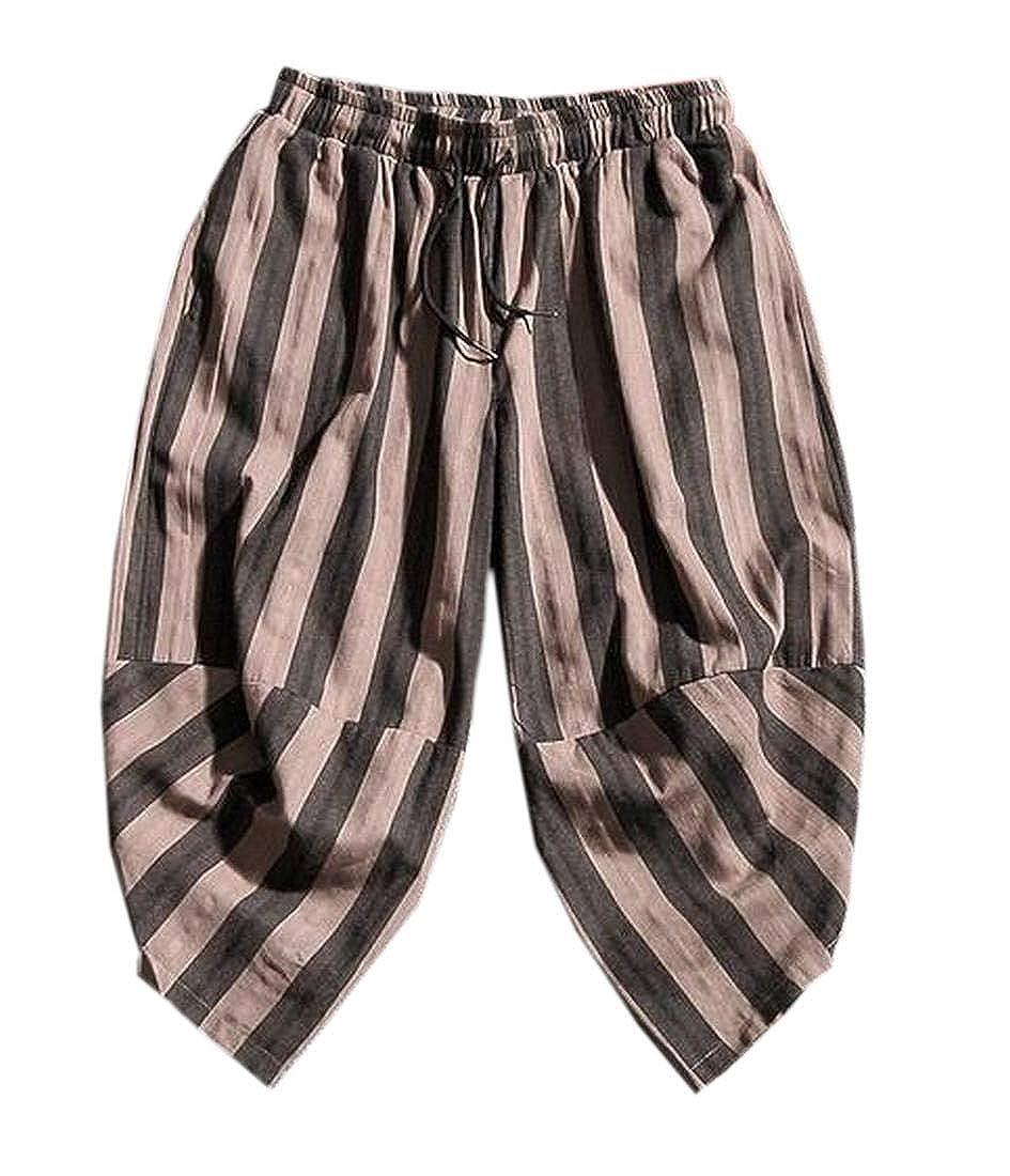 GenericMen Casual Plaid Elastic Waist Capri Wide Leg Baggy Harem Pants