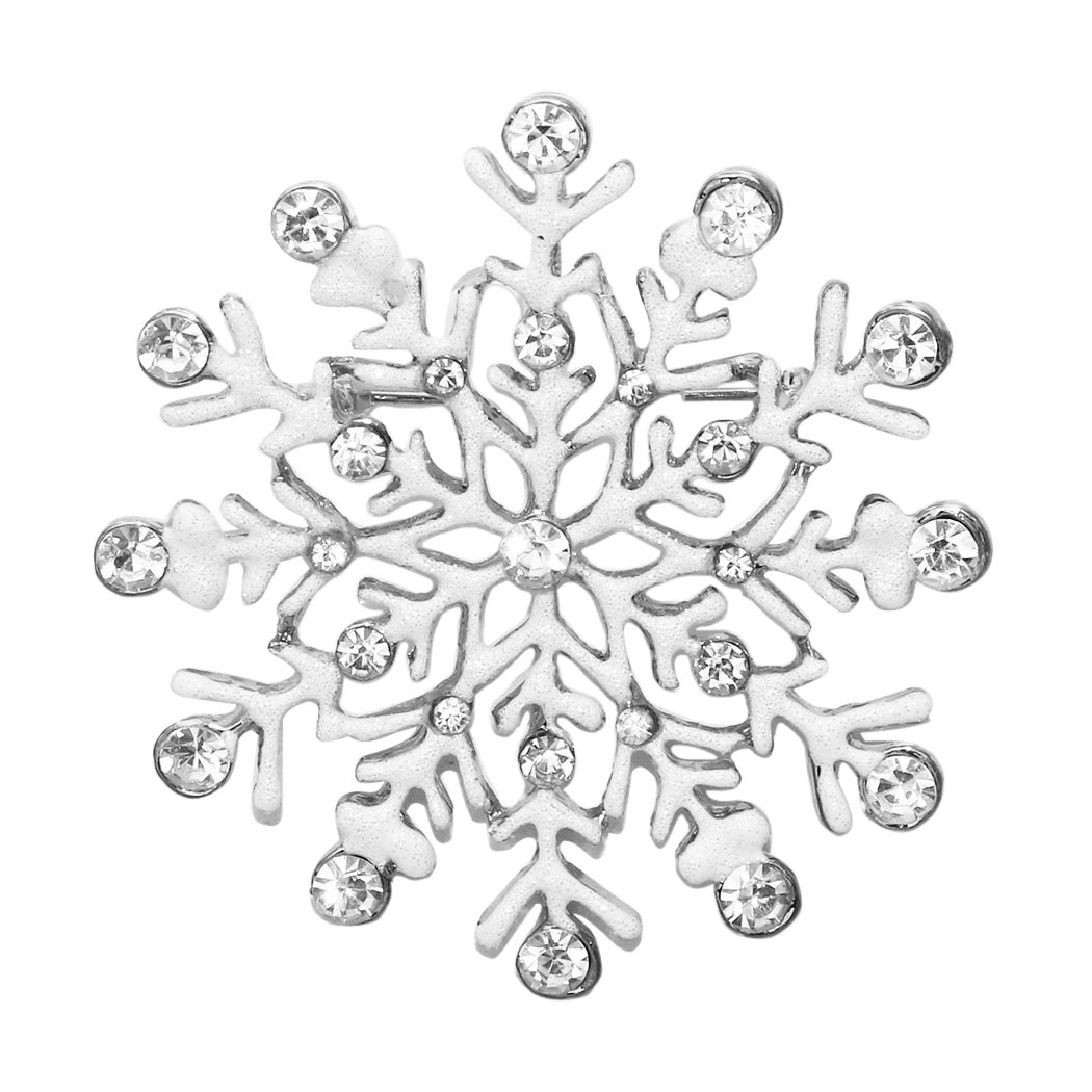 Rosemarie Collections Women's Rhinestone Accent Winter Snowflake Brooch Pin (Silver Tone)