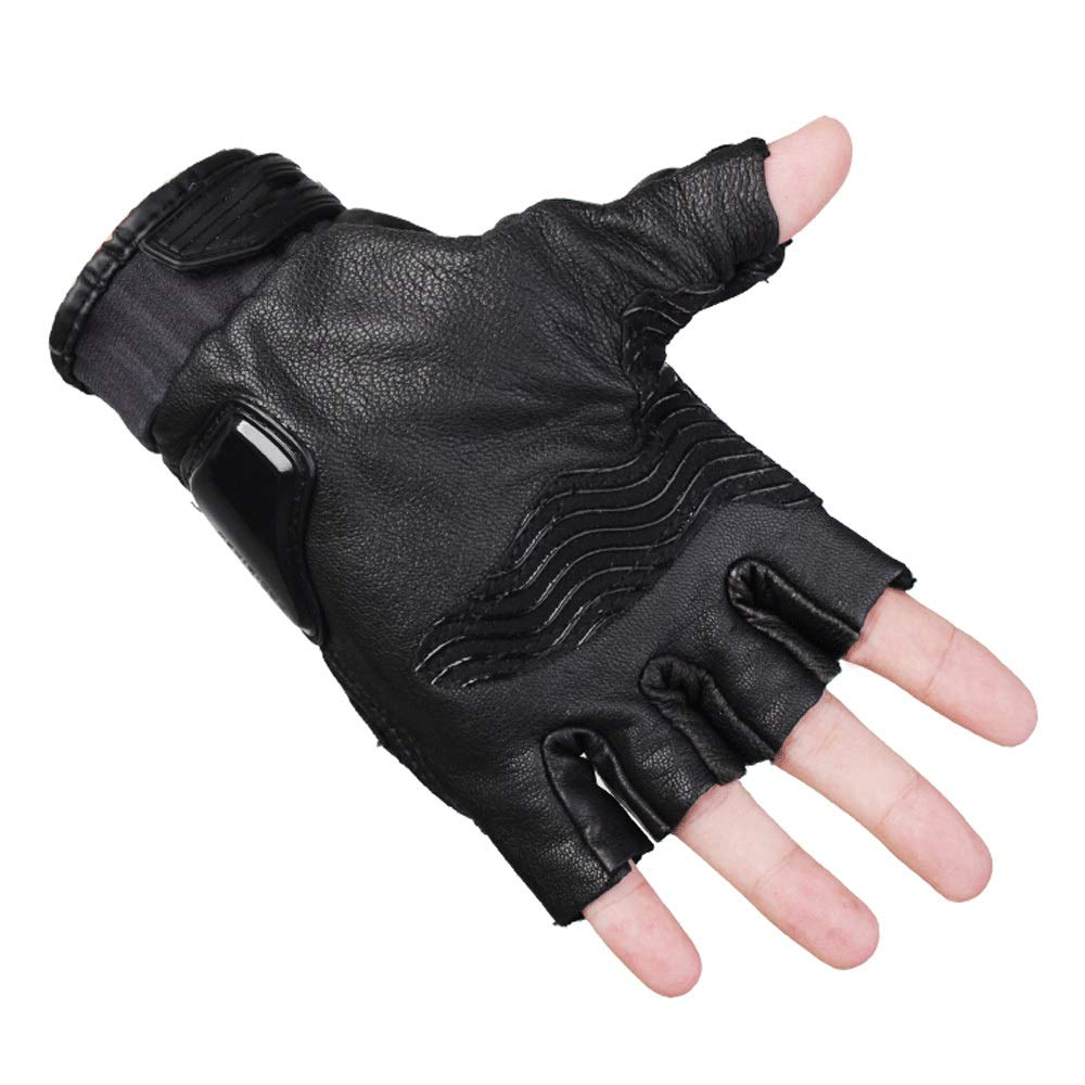 LBYMYB Motorcycle Gloves Summer Protection Sports Car Riding Equipment Half Finger Gloves, Black Glove (Size : XL)