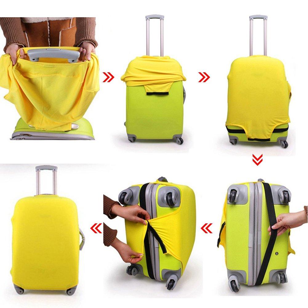Loveble Housse de Protection de Valise Simple Couverture Classique de Bagages de Voyage pour 18-26 Pouces Flexible et Velcro
