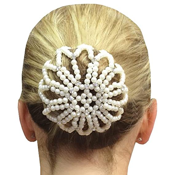 Victorian Hair Jewelry | Victorian Wigs, Hair Pieces Elastic Handmade Crochet Pearl Hair Snood Net Ballet Bun Hair Covers Ornament Hair Accessories For Women $9.99 AT vintagedancer.com