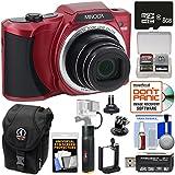 Minolta MN22Z 1080p 22x Zoom Wi-Fi Digital Camera (Red) with 8GB Card + Power Bank Hand Grip + Case + Kit