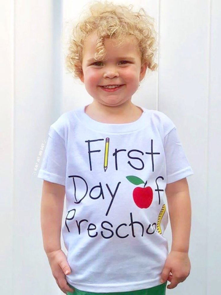 First Day of Preschool Shirt, Pre-K Shirt, Back to School, Short Sleeve, White, Size 4T by I Heart Art and Baby