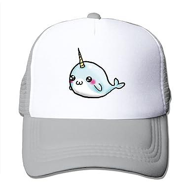 Good Cute Cartoon Narwhal Mesh Trucker Caps/Hats Adjustable For Unisex Ash