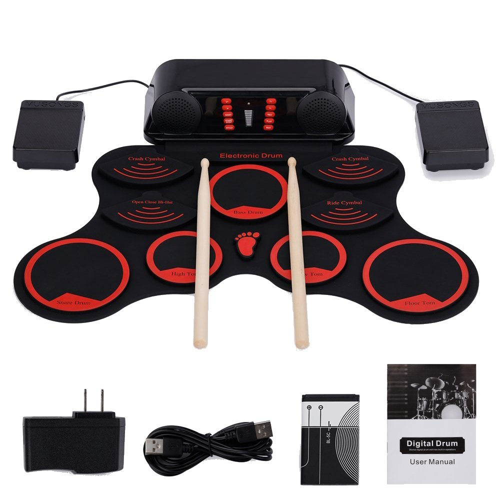 HJJH Roll-Up Drum Set Portable Electronic Drum Set with Rechargeable Battery Pedal Pedal Drum Built-in Speaker Can Be Connected to The Computer by HJJH