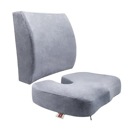 LoveHome coxis Ortopédica Espuma de asiento Cojín y respaldo para parte inferior de la espalda ciática