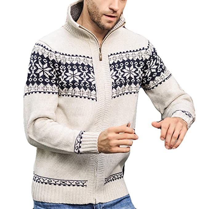 iYYVV Mens Autumn Winter Pattern Coats Jacquard Slim Neck Collar Knitted Leisure Jacket at Amazon Mens Clothing store: