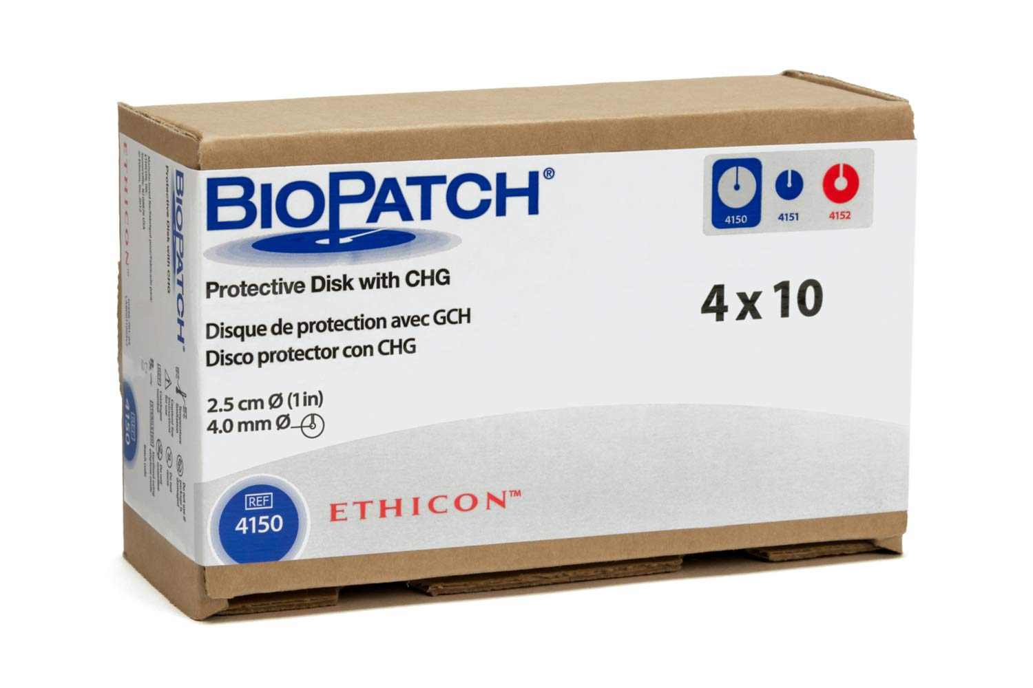 Ethicon BIOPATCH Protective Disk with CHG, 4150, Antimicrobial IV Dressing, 2.5 cm Diameter with 4 mm Center Opening, Medical Supplies by Ethicon