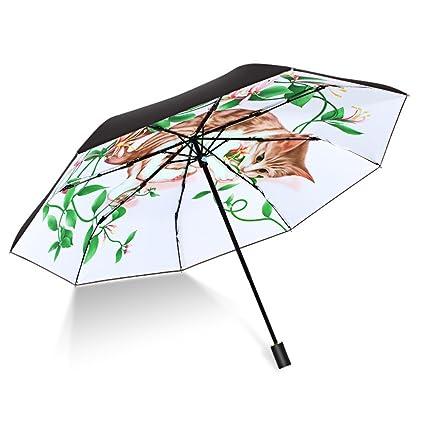 Sombrilla paraguas Umbrella Sun Umbrella Cat Pattern para mujer Sombrilla paraguas plegable impermeable para exteriores con
