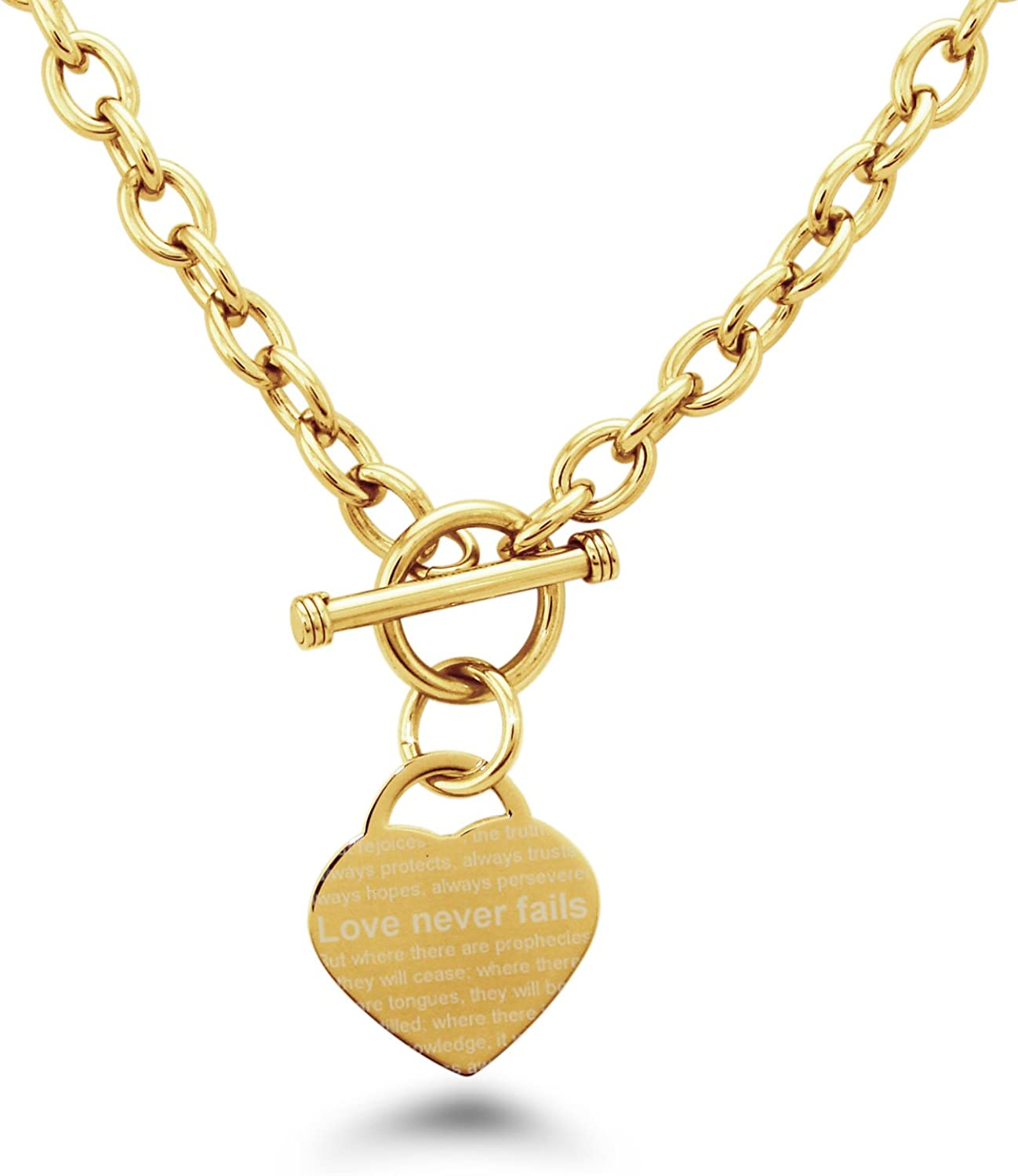 Gold Plated Stainless Steel Love Never Fails 1 Corinthians 13 Necklace Only 6-8 Heart Charm