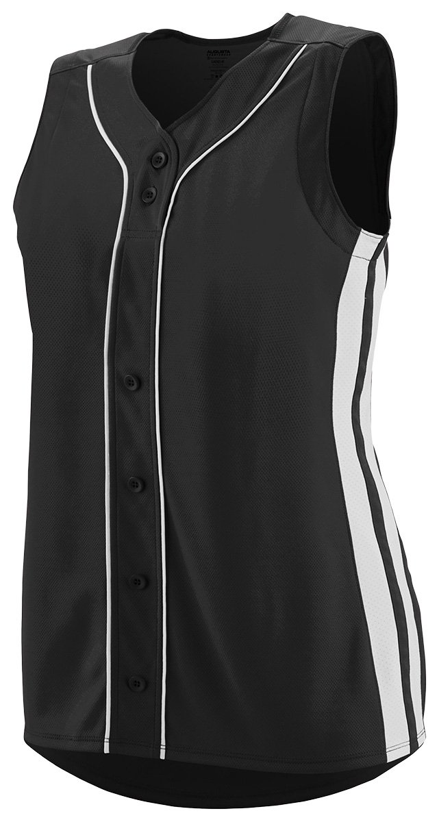 Augusta SportswearレディースWinnerノースリーブSoftball Jersey B01C5G82HY Large|ブラック/ホワイト ブラック/ホワイト Large