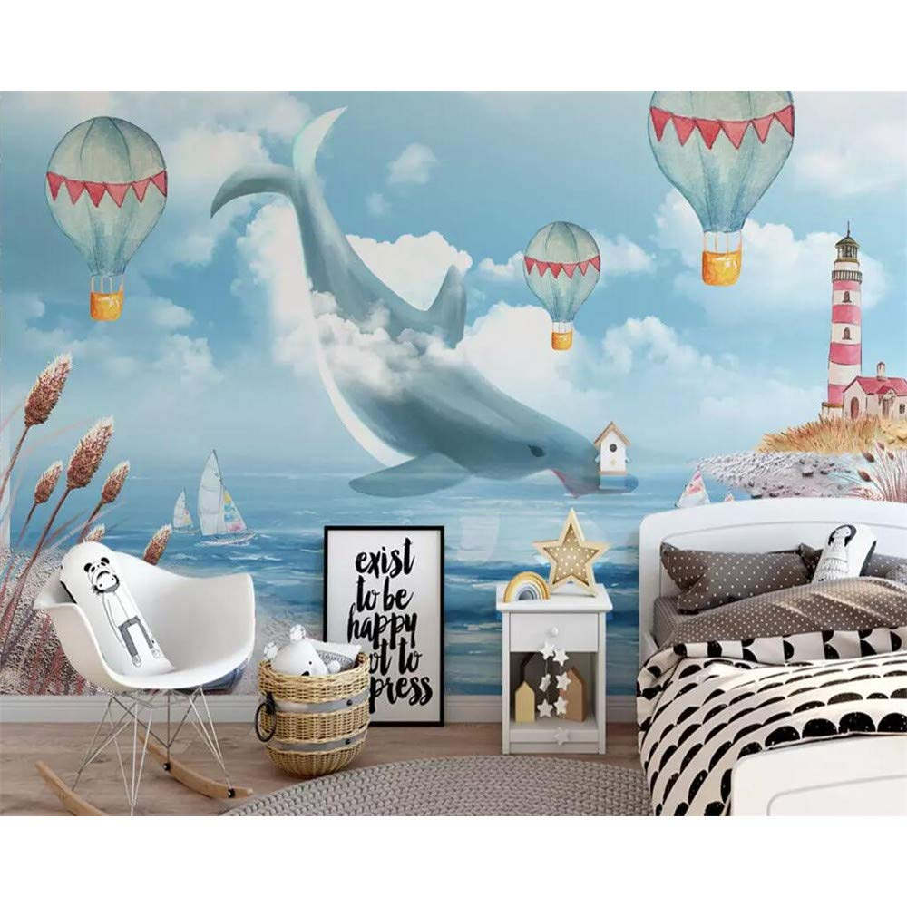 GMYANBZ Carta da Parati Murale Carta da Parati per Bambini Camera da Letto Balena per Bambini Camera da Letto Sfondo TV Decorazione 3D Wallpaper