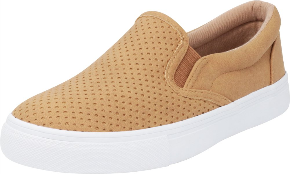 Cambridge Select Women's Slip-On Closed Round Toe Perforated Laser Cutout White Sole Flatform Fashion Sneaker B07F95G4QH 7 B(M) US|Tan Nbpu/White Sole