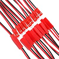 Letool 22 AWG 2 Pin JST Plug Connector 2.54mm Male Female Wire Connector Plug Cable DIY RC Battry Model, 30 Pairs