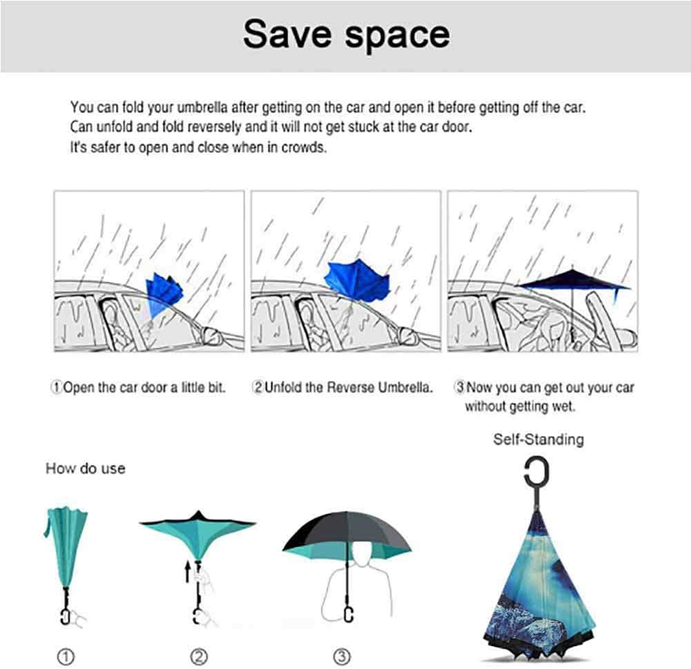 Double Layer Windproof Reverse Umbrella with C-Shaped Hands Free Handle