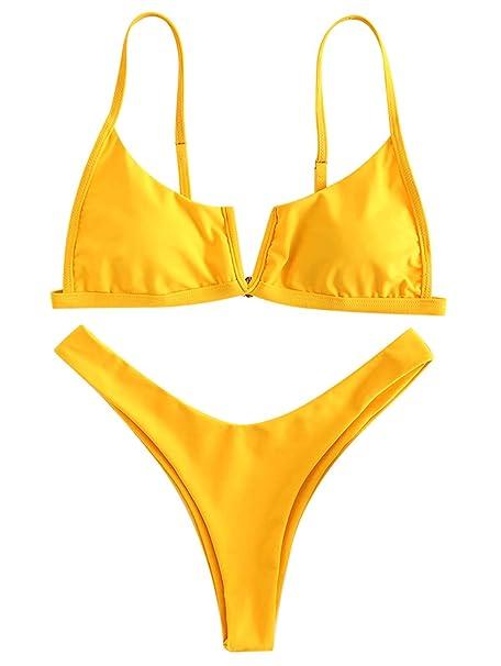 14bd7adf03 ZAFUL High Cut V-Wired Padded Bikini Set Swimsuit Swimwear(Rubber Ducky  Yellow,