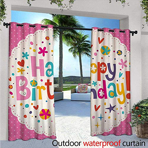 """Birthday Outdoor- Free Standing Outdoor Privacy Curtain Lovely Retro Greeting Card Inspired Design Hearts Smiles Flowers Dots Vintage for Front Porch Covered Patio Gazebo Dock Beach Home W120"""" x L84"""""""