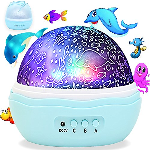 Colorful Undersea World, McWorks Newest Multiple Colors Rotating Projector Night Lights, Best for Kid's Baby's Gift to Stimulate Curiosity and Imagination