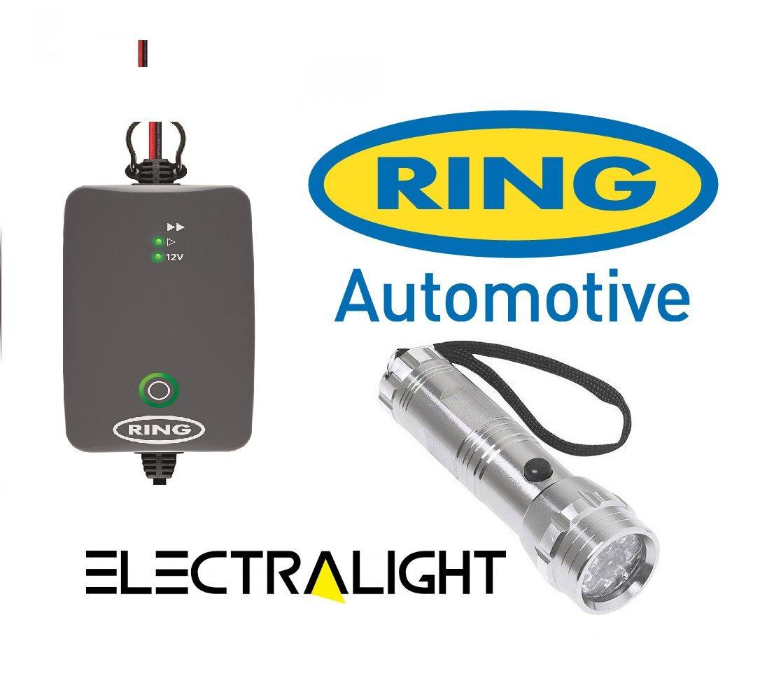 Ring rsc704 4 A 12 V Smart-Akku-Ladegerät, LED-Taschenlampe, bis zu 2,0 Liter und Aluminium
