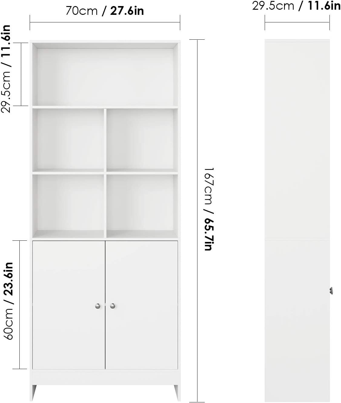 Homfa Bookcase with Doors Wooden Bookshelf Storage Unit 3 Tiers 4 Cubes 2 Doors Tall Display Shelf Free Standing Storage Shelves Home Office White 70x29.7x167cm