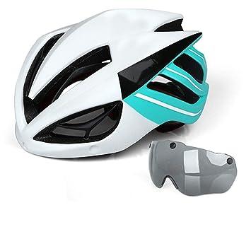 5bd0425357 HK-Kensolng Casco de Bicicleta Casco de Bicicleta Gafas magnéticas Mountain  Road Cascos de Bicicleta Gafas de Sol Gafas de Ciclismo Casco de Bicicleta  White ...