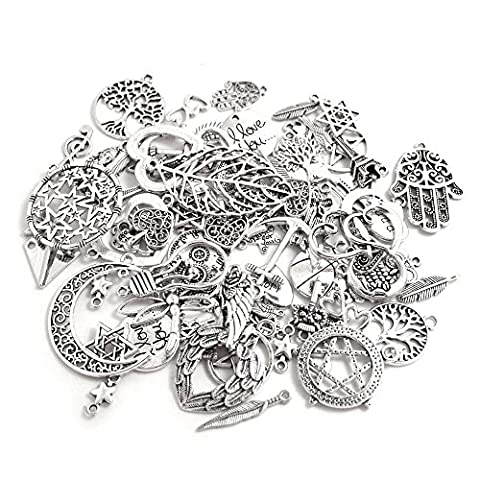 BronaGrand 100 Gram Assorted Antique Silver Alloy Charms Pendants Beads Charms Chains Connectors for Crafting, Findings Jewelry Making DIY Accessory Mix - Beads And Findings