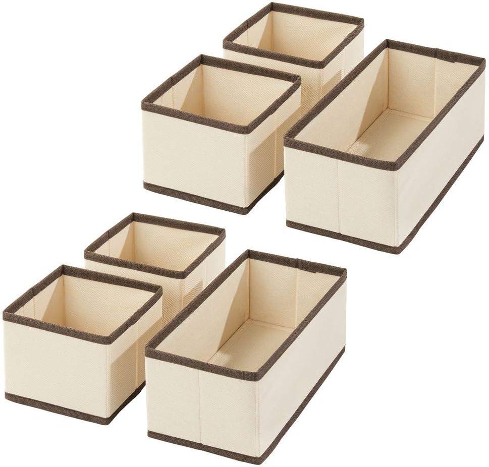 Organizadores para armarios para Guardar Calcetines Cestas de Tela para almacenaje en cajones de Dos tama/ños mDesign Juego de 12 Cajas organizadoras Ropa Interior y m/ás Amarillo Claro//Blanco