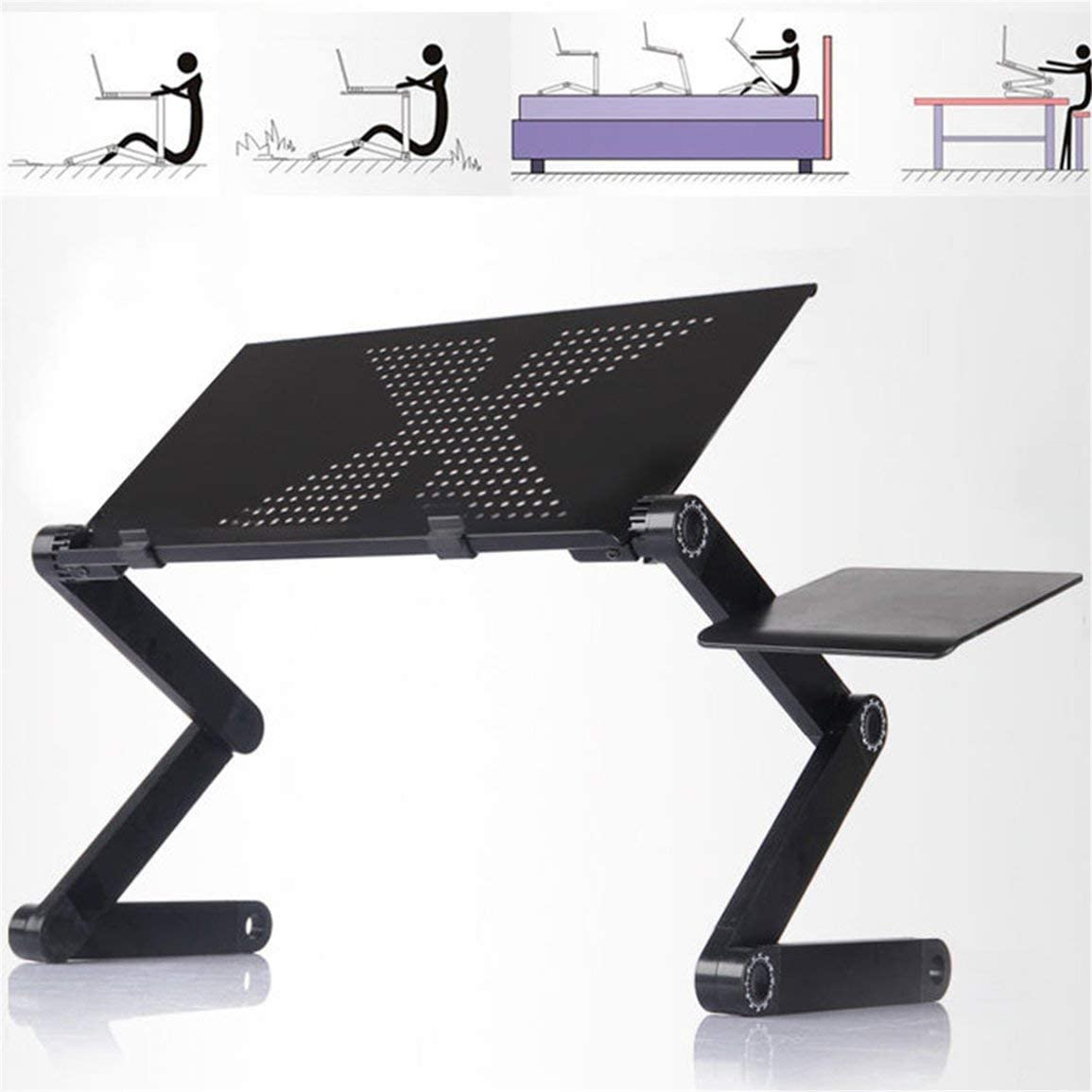 table 0.48m Portable Foldable Aluminum Alloy Laptop Computer Notebook Table Stand Desk Bed Tray Enjoy Fun in bed carpet lawn ➤ HibiscusElla sofa