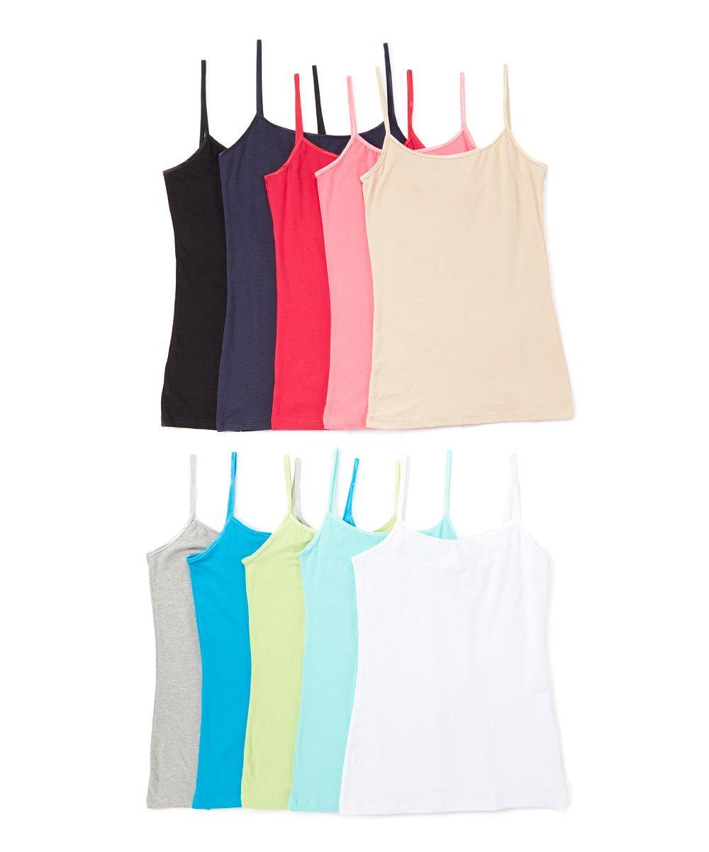 Unique Styles Juniors Teens Basic Camisole Spaghetti Strap Cotton Tank Tops