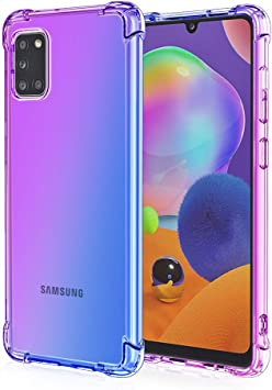 Amazon Com Starhemei For Galaxy A31 Case Samsung Galaxy A31 Case Shock Resistant Flexible Tpu Gasbag Protection Rubber Soft Silicone Anti Dropping Case Cover For Samsung Galaxy A31 Purple Blue Electronics
