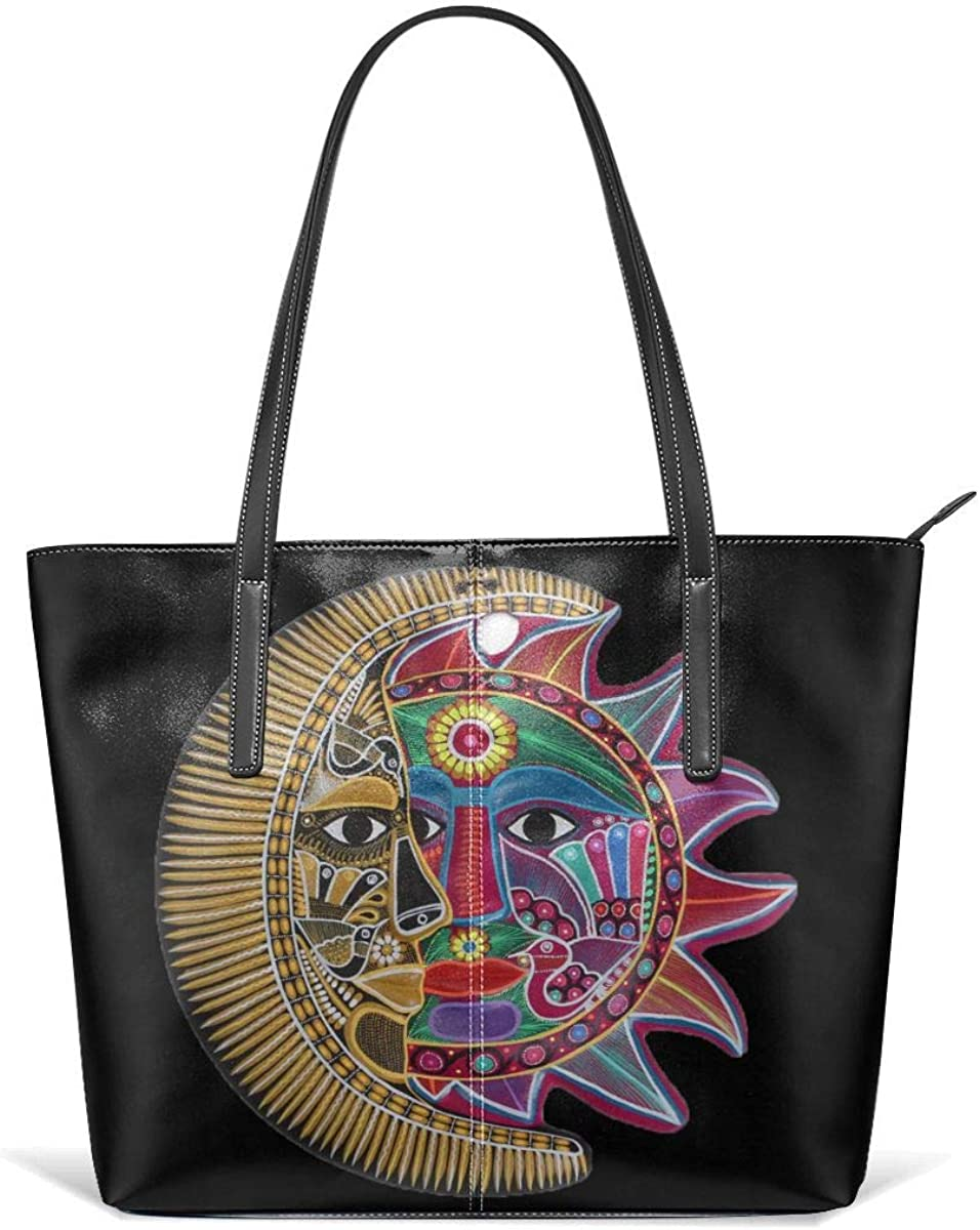 Yellow Red Sun Face Moon Art Men Women Leather Tote Bags Satchel Top Handle Cross Body Shoulder Hobo Handbags For Ladies Shopping Bag Office Briefcase