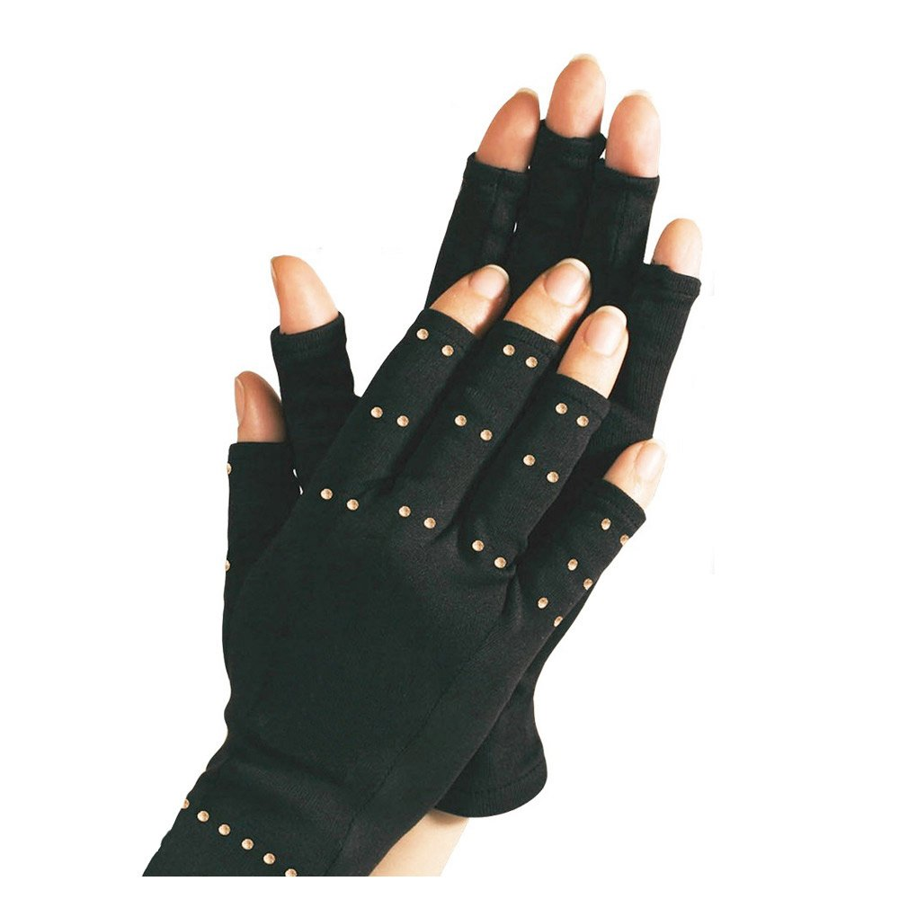 PU Health Therapeutic Pain Relieving Compression Gloves for Arthritis, Black, 0.6 Pound