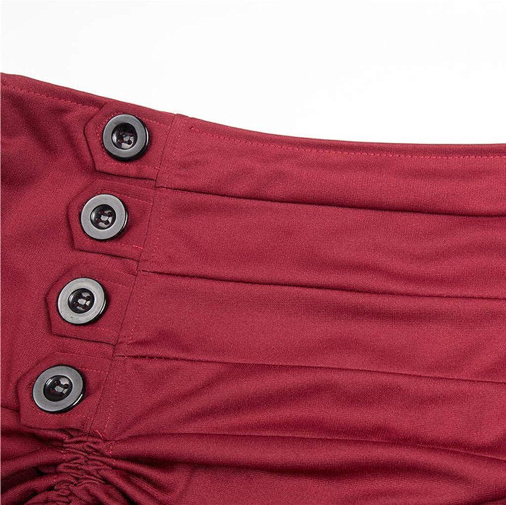 TOPBIGGER Womens Gothic Steampunk Skirt Asymmetrical High Low Dress