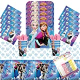 Disney Frozen Party Plates Napkins Cups and Table Cover Serves 16 with Birthday Candles - Frozen Birthday Party Supplies Pack Deluxe (Bundle for 16)