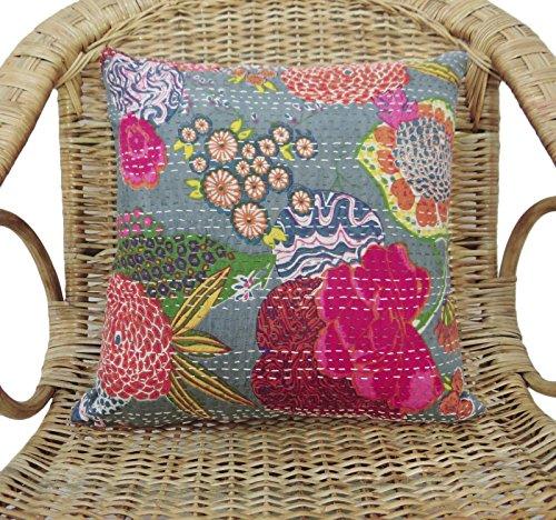 (Indian Cushion Cover Throw Pillow Case Floral Grey Pure Cotton Decor 16