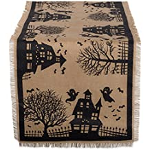 "DII 14x74"" Jute/Burlap Table Runner, Haunted House - Perfect for Halloween, Dinner Parties and Scary Movie Nights"