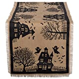 DII 14x74'' Jute/Burlap Table Runner, Haunted House - Perfect for Halloween, Dinner Parties and Scary Movie Nights