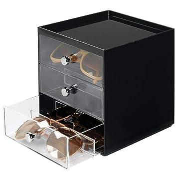 mDesign Caja para gafas de sol - Cajoneras de plástico con 3 ...